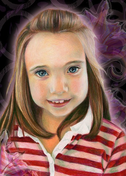 Young Greeting Card featuring the drawing Kaylee by Heather Raven Illingworth