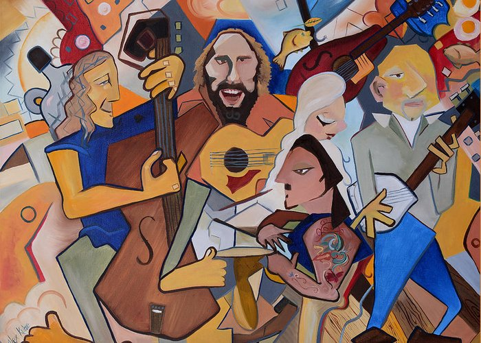 Music Greeting Card featuring the painting Kc The Band by Alexandra Kube