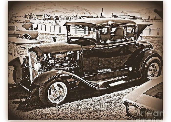 Black And White Print Greeting Card featuring the photograph Keep Off My Car by Bobbee Rickard