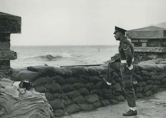 retro Images Archive Greeting Card featuring the photograph Keeping Watch On The High Tides At Lyn Mouth by Retro Images Archive