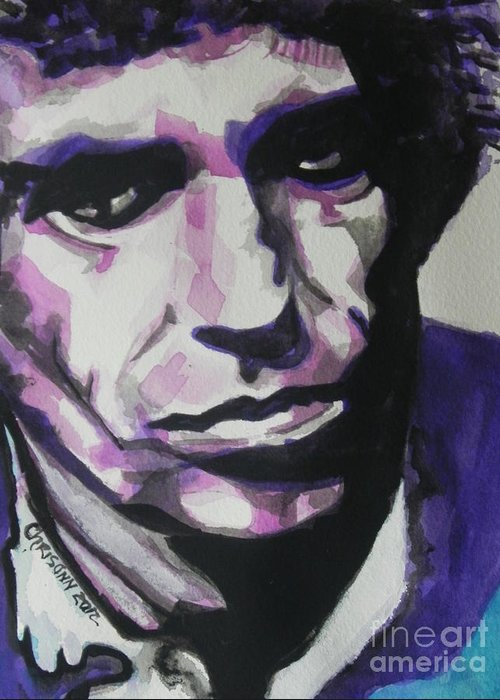 Watercolor Painting Greeting Card featuring the painting Keith Richards by Chrisann Ellis