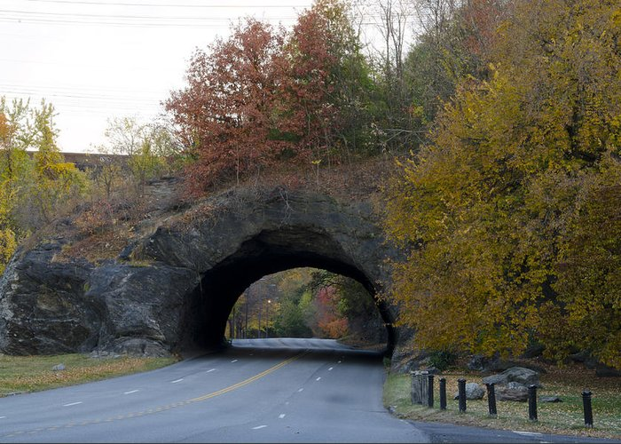 Kelly Greeting Card featuring the photograph Kelly Drive Rock Tunnel In Autumn by Bill Cannon