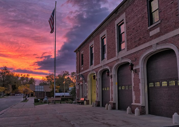 Fire Greeting Card featuring the photograph Kenmore Fire Hall Sunset by Chris Bordeleau