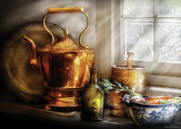 Coffee Greeting Card featuring the photograph Kettle - Cherished Memories by Mike Savad