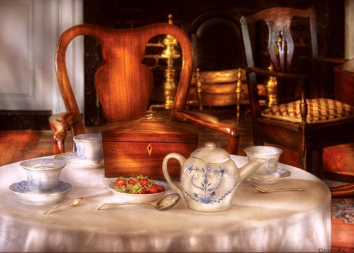 Savad Greeting Card featuring the photograph Kettle - Have Some Tea - Chinese Tea Set by Mike Savad