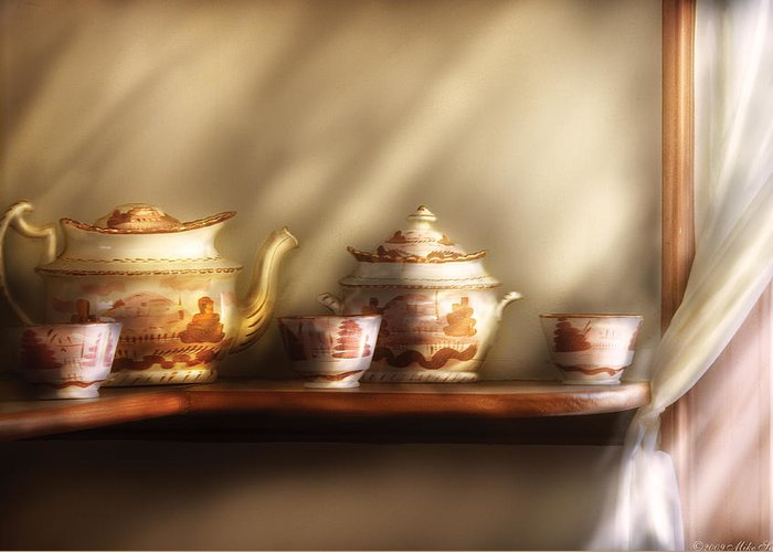 Savad Greeting Card featuring the photograph Kettle - My Grandmother's Chinese Tea Set by Mike Savad