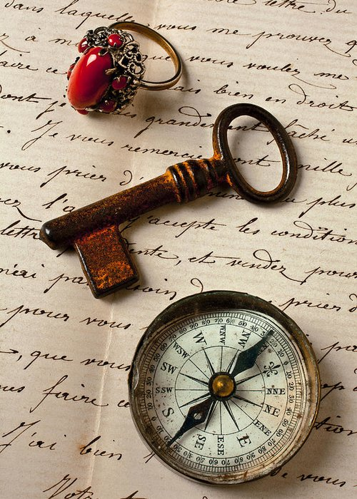 Ring Greeting Card featuring the photograph Key Ring And Compass by Garry Gay