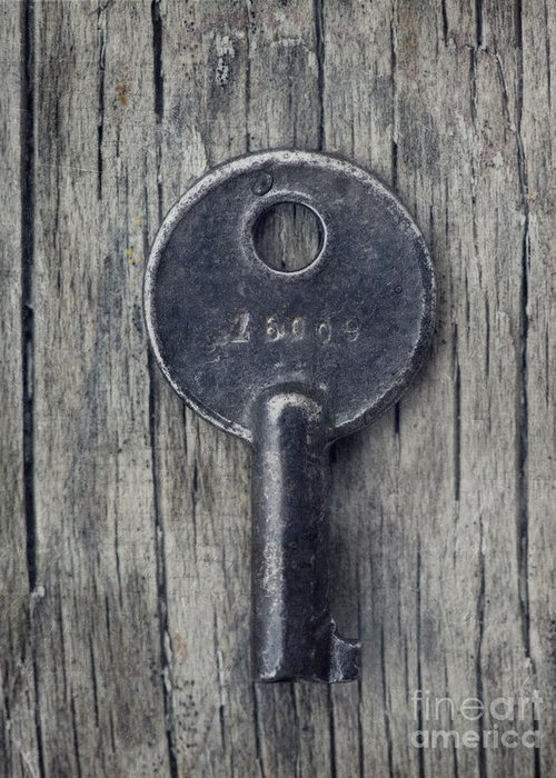 Single Key Greeting Card featuring the photograph Key To... by Priska Wettstein