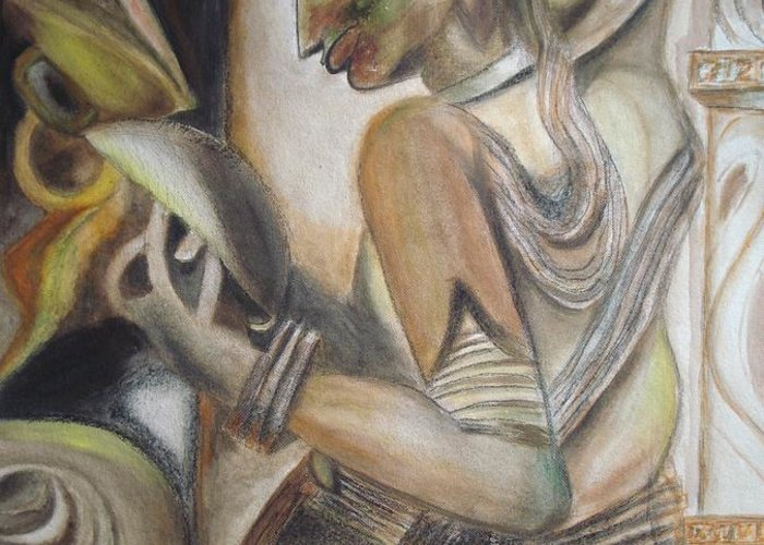 Dancing Girl Greeting Card featuring the painting Khajuraho Tantrik Dancer Applying Make-up by Prasenjit Dhar