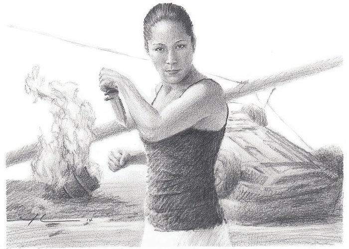 <a Href=http://miketheuer.com Target =_blank>www.miketheuer.com</a> Kick Butt Instructor Pencil Portrait Greeting Card featuring the painting Kick Butt Instructor Pencil Portrait by Mike Theuer