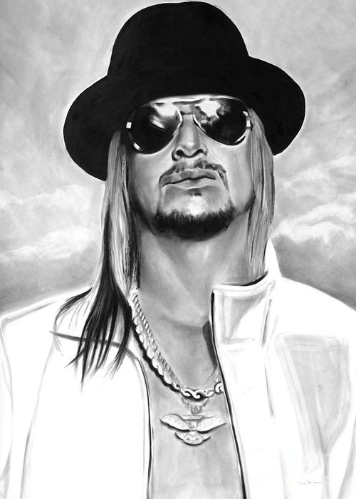 Bdcurran Greeting Card featuring the drawing Kid Rock by Brian Curran