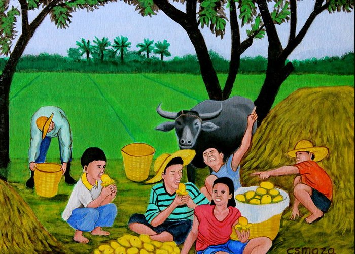 Landscape Greeting Card featuring the painting Kids Eating Mangoes by Cyril Maza