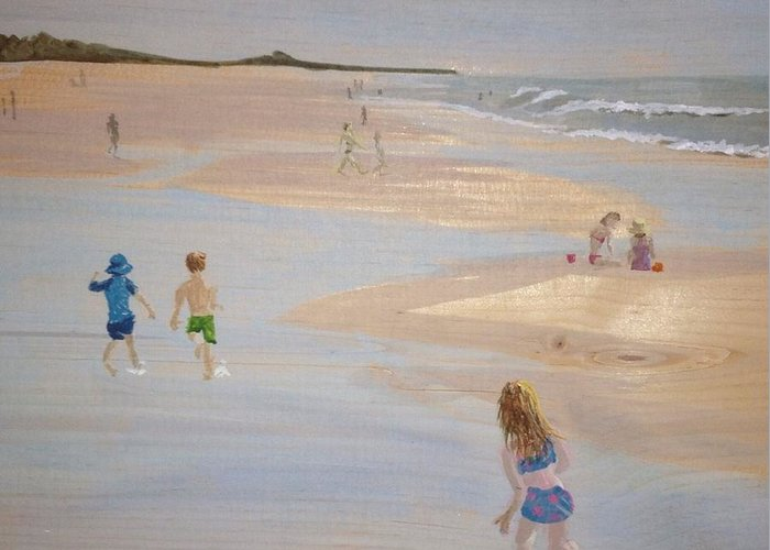 Landscape Greeting Card featuring the painting Kids On The Beach by Donna Rollins