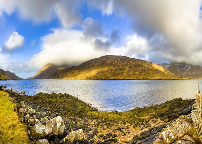 Galway Greeting Card featuring the photograph Killary Fjord - Irish Panorama by Mark E Tisdale
