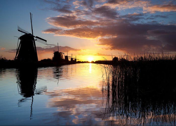 Kinderdijk Greeting Card featuring the photograph Kinderdijk Sunrise by Dave Bowman
