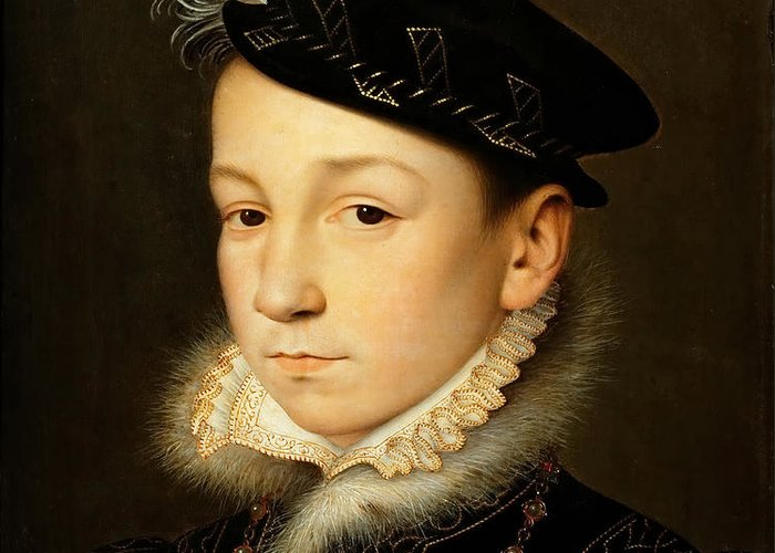 Francois Clouet Greeting Card featuring the painting King Charles Ix Of France by Francois Clouet