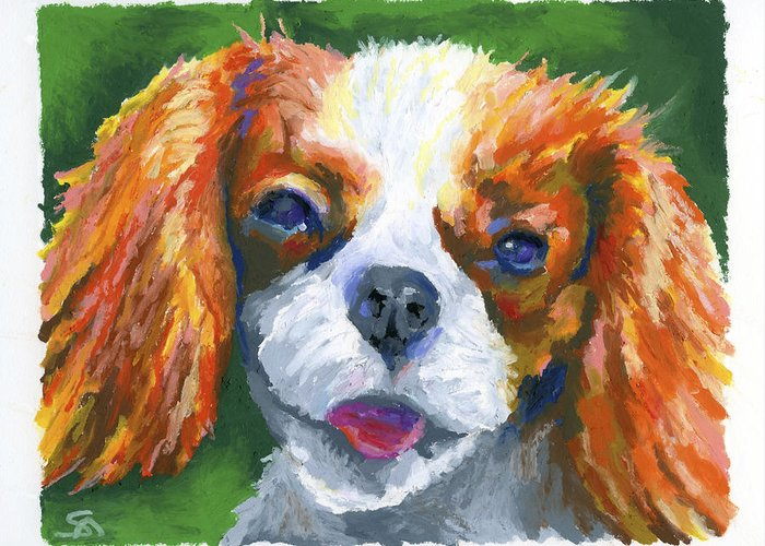 Dog Greeting Card featuring the painting King Charles by Stephen Anderson