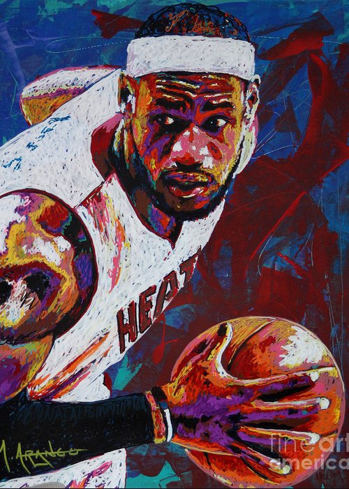 Lebron Greeting Card featuring the painting King James by Maria Arango