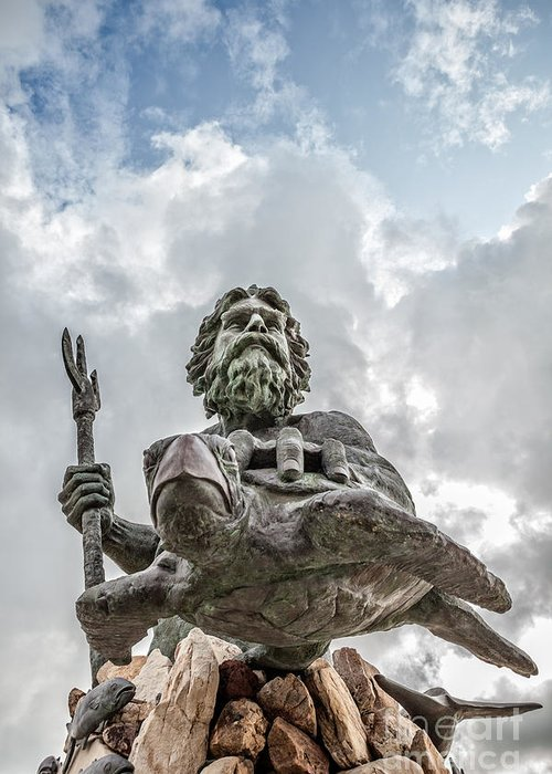 68c52f467 Beach Greeting Card featuring the photograph King Neptune Statue Virginia  Beach by Leslie Banks