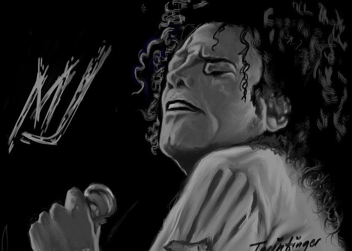 Michael Jackson Greeting Card featuring the painting King Of Pop by Twinfinger