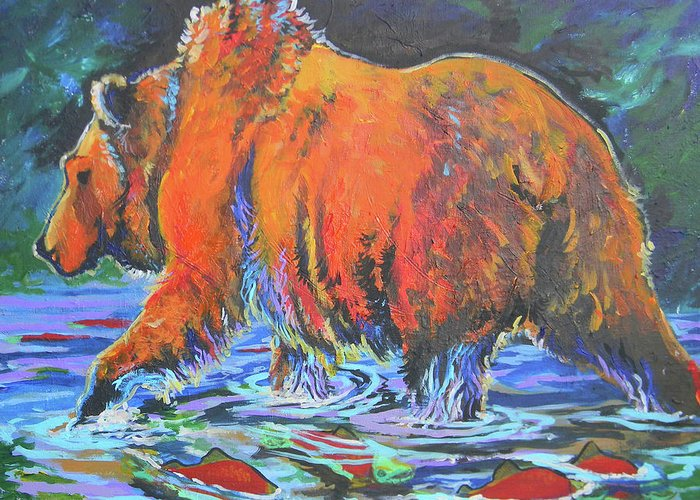 I Love Seeing Grizzly And Their Spawning Food Supply. Greeting Card featuring the painting King Of The Fishes by Jenn Cunningham
