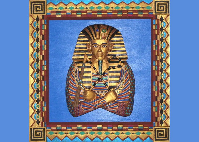 Sculpture Greeting Card featuring the mixed media KING TUT - Handcarved by Michael Pasko