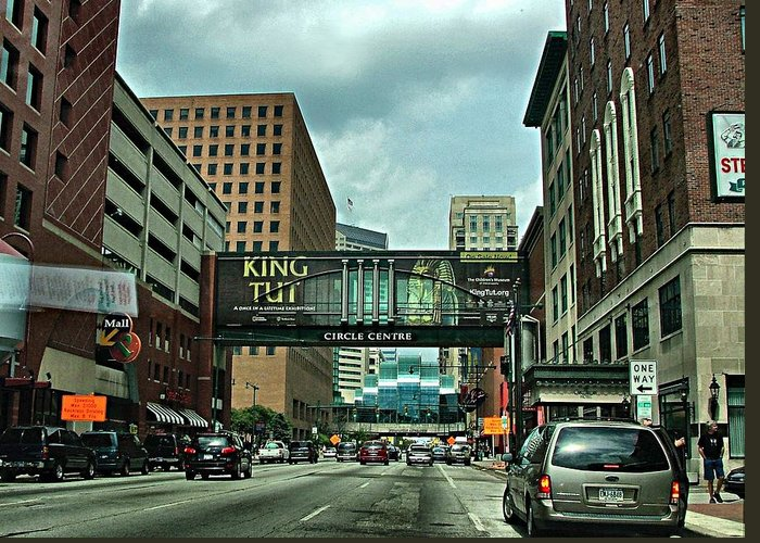 Downtown Greeting Card featuring the photograph King Tut In Indy by Julie Dant