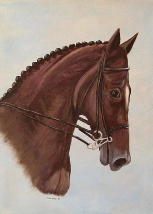 Horse Greeting Card featuring the painting Kingd'azur by Quwatha Valentine