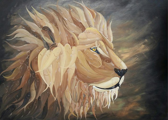 Lion Greeting Card featuring the painting Kingdom Come by Deda Happel