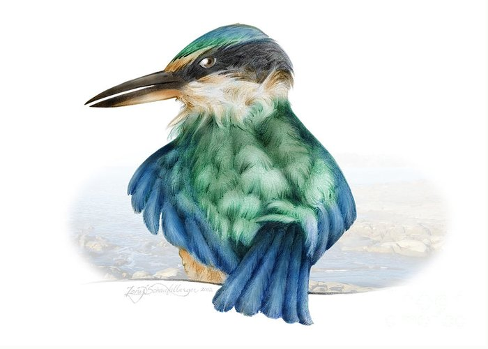 Bird Greeting Card featuring the drawing Kingfisher by Tony Schaufelberger