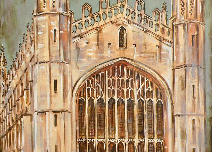Kings College Chapel Greeting Card featuring the painting Kings College Chapel by Leigh Banks