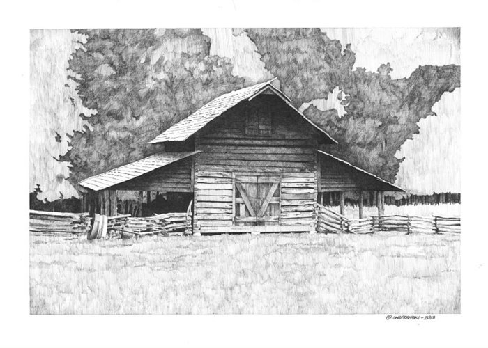 Pen And Ink Greeting Card featuring the drawing King's Mountain Barn by Paul Shafranski