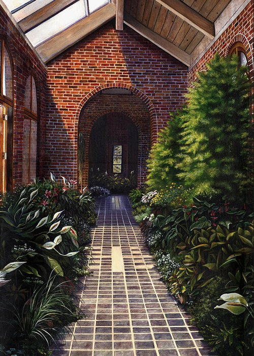 Greenhouse At Kingwood Center In Mansfield Ohio Greeting Card featuring the painting Kingwood by Terri Meyer