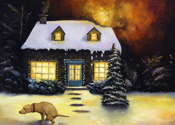 Kinkade Greeting Card featuring the painting Kinkade's Worst Nightmare by Leah Saulnier The Painting Maniac