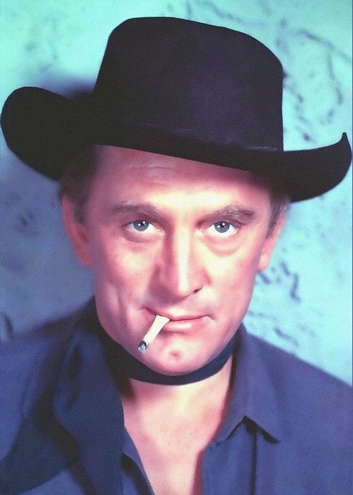 Actor Greeting Card featuring the photograph Kirk Douglas In Man Without A Star by Art Cinema Gallery