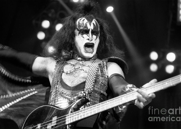 Gene Simmons Greeting Card featuring the photograph Kiss-gene-gp09 by Timothy Bischoff