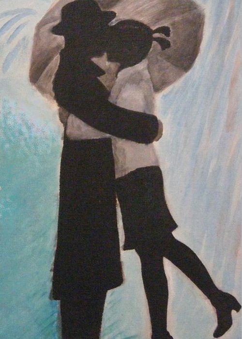 Silhouette Greeting Card featuring the painting Kiss In The Rain by Tatiana Baze