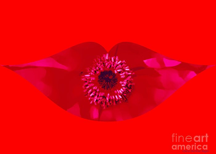 Red Greeting Card featuring the photograph Kiss My Poppy by Clara Darlene Reger