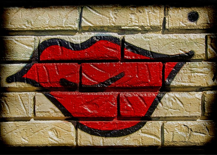 Brick Red Lips Greeting Cards