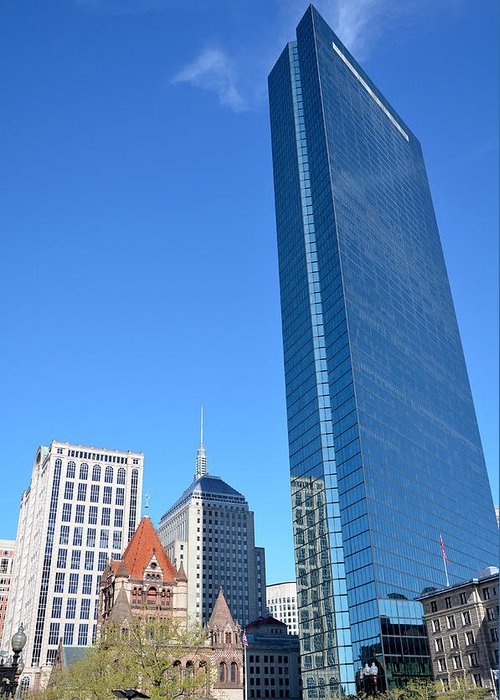 Boston Greeting Card featuring the photograph Kissing The Boston Sky by Amanda Vouglas