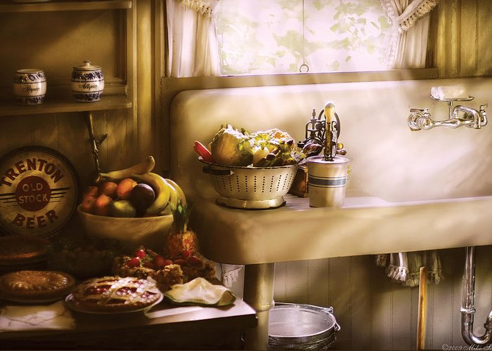 Savad Greeting Card featuring the photograph Kitchen - A 1930's Kitchen by Mike Savad