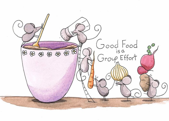 Kitchen Greeting Card featuring the painting Kitchen Art Cooking Mice by Christy Beckwith