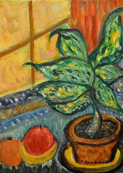 Plant Greeting Card featuring the painting Kitchen Company by Louise Burkhardt