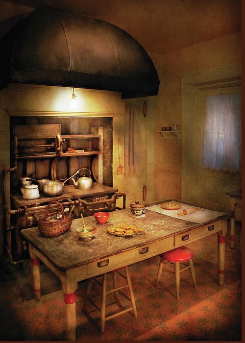 Savad Greeting Card featuring the photograph Kitchen - Granny's Stove by Mike Savad