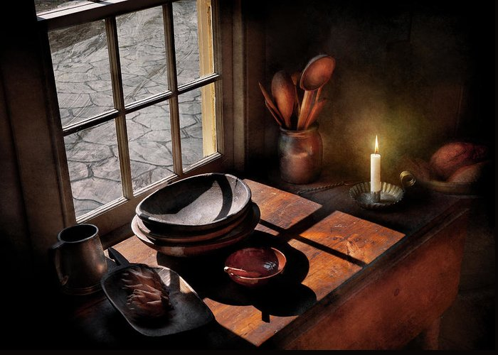 Chef Greeting Card featuring the photograph Kitchen - On A Table II by Mike Savad