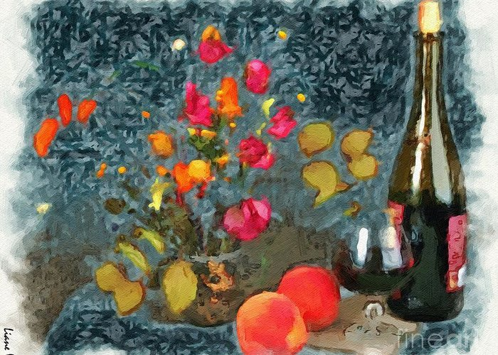 Kitchen Peaches And Wine Painting Greeting Card featuring the painting Kitchen - Peaches And Wine Painting by Liane Wright