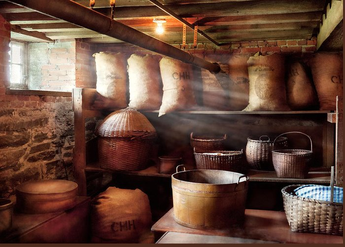 Self Greeting Card featuring the photograph Kitchen - Storage - The Grain Cellar by Mike Savad