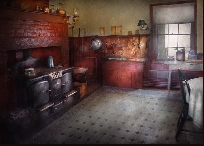 Hdr Greeting Card featuring the photograph Kitchen - Storybook Cottage Kitchen by Mike Savad