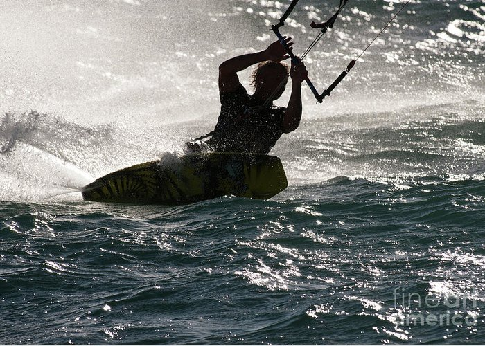 Australia Greeting Card featuring the photograph Kite Surfer 02 by Rick Piper Photography
