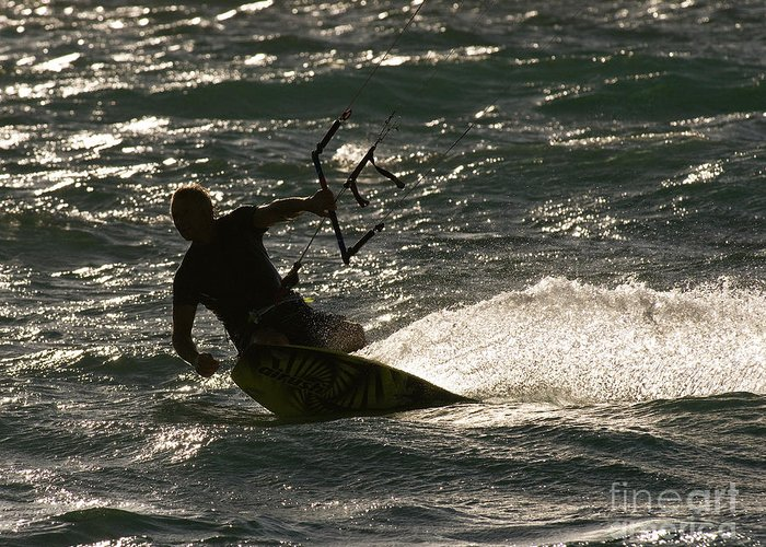 Australia Greeting Card featuring the photograph Kite Surfer 03 by Rick Piper Photography